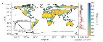 SMAP가 파악한 연간 세계 토양 수분 분포 지도. 색이 푸를 수록 포함한 수분의 양이 많은 것이다. - 네이처 지오사이언스 제공